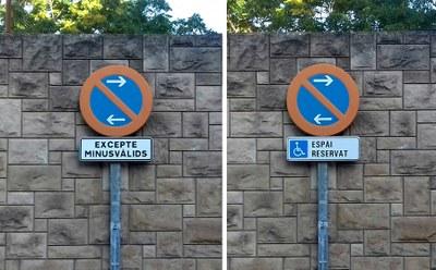 L'Ajuntament actualitza el llenguatge dels senyals d'aparcament reservat