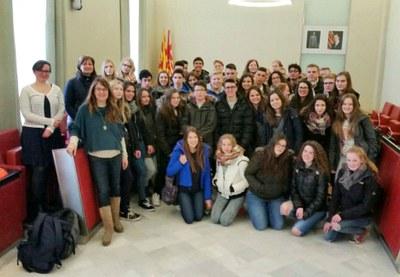 Estudiants alemanys i de l'Acadèmia Igualada visiten l'Ajuntament