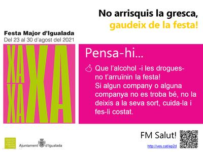 """Igualada posa en marxa  la campanya """"No arrisquis la gresca, gaudeix de la festa!"""" per promoure l'oci nocturn saludable durant la Festa Major"""