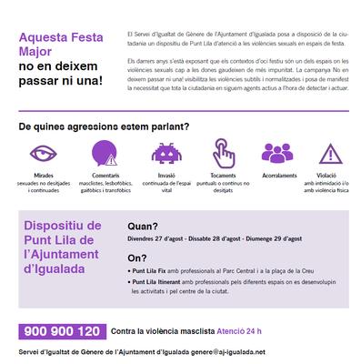 La Festa Major d'Igualada comptarà amb dos punts liles d'atenció fixes i una parella d'educadores itinerants