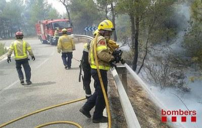 Seguiment de l'incendi forestal d'Òdena (dilluns, 13h)