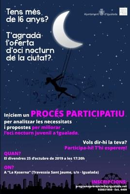 Procés participatiu per a la millora de l'oci nocturn juvenil a Igualada
